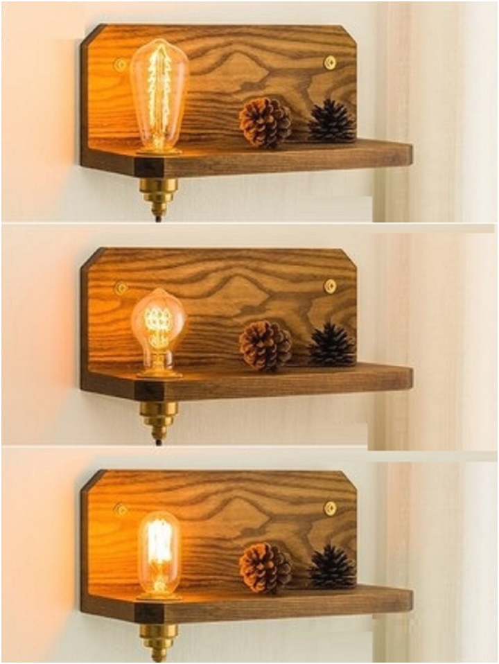 LukLoy Wood LED Light Bedside Wall Lamp Bedroom Dimmable Copper Wall Sconce Wooden Plug in Retro