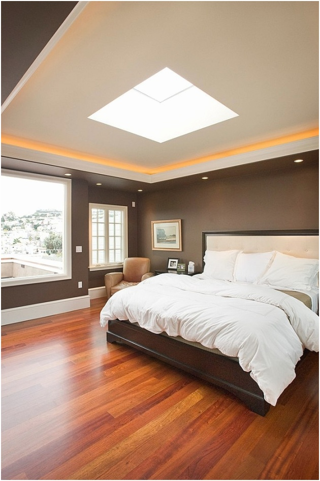 Transitional bedroom with wonderful blend of natural and artificial lighting