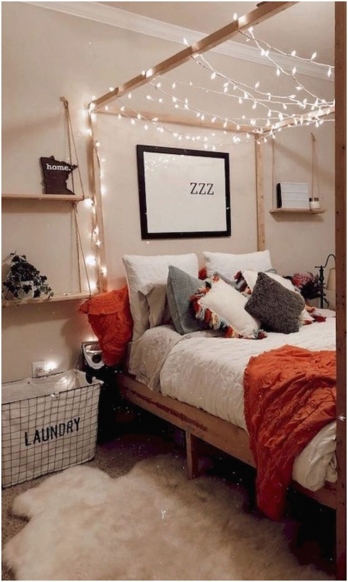 lights weaving around the framing of the bed is a cool and easy idea to rock