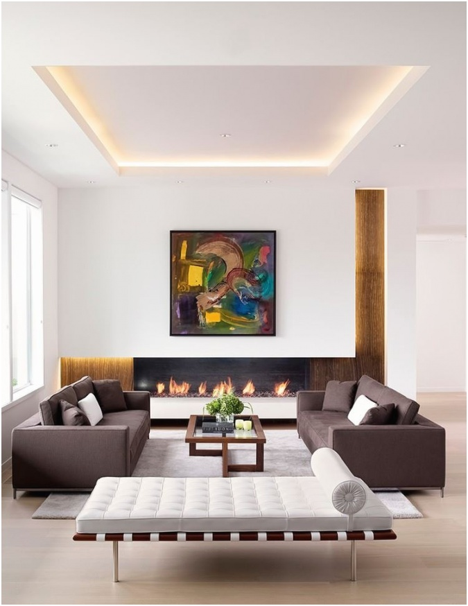 Strategic lighting in a recessed ceiling