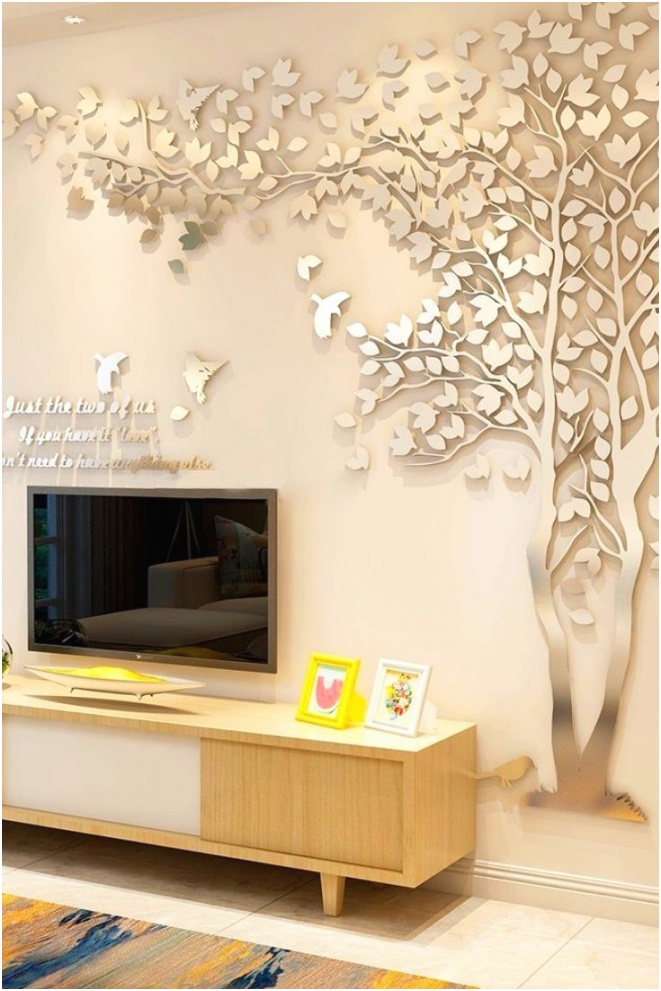 wall stickers decor flamingo mirror puter trees