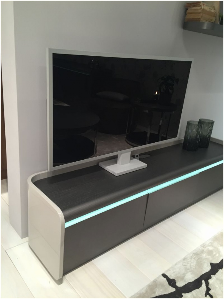 Living room TV media center with High Efficiency LED Lighting for a cool mood