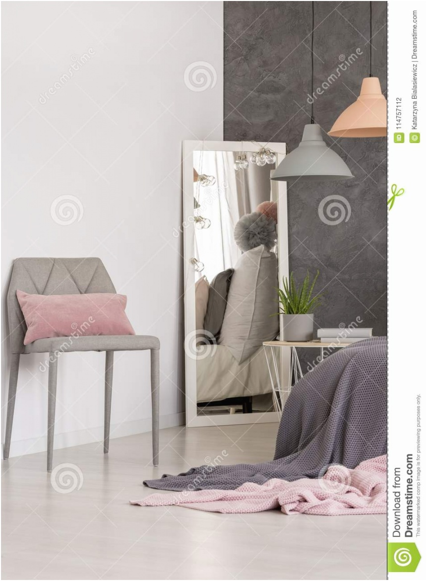 mirror standing corner bright bedroom interior textured wall pastel lamps mirror corner