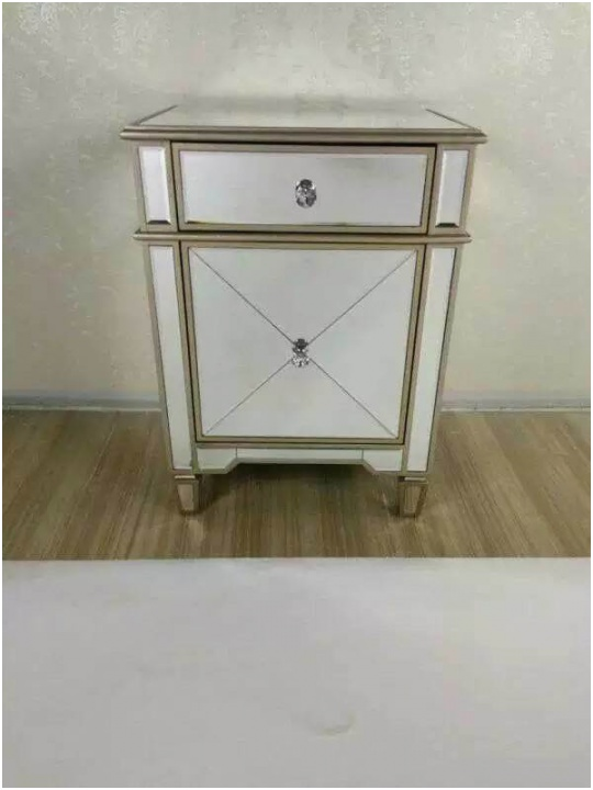 China 3 Drawers Mirrored Bedside Tables Cabinets Nightstand Bedroom Furniture Sets