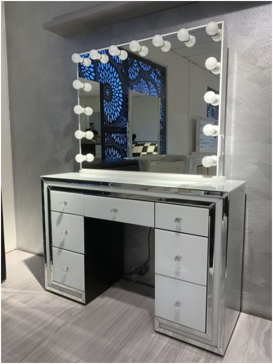 Simple Dressing Table with Mirror Set Furniture Bedroom Modern Makeup Vanity Table