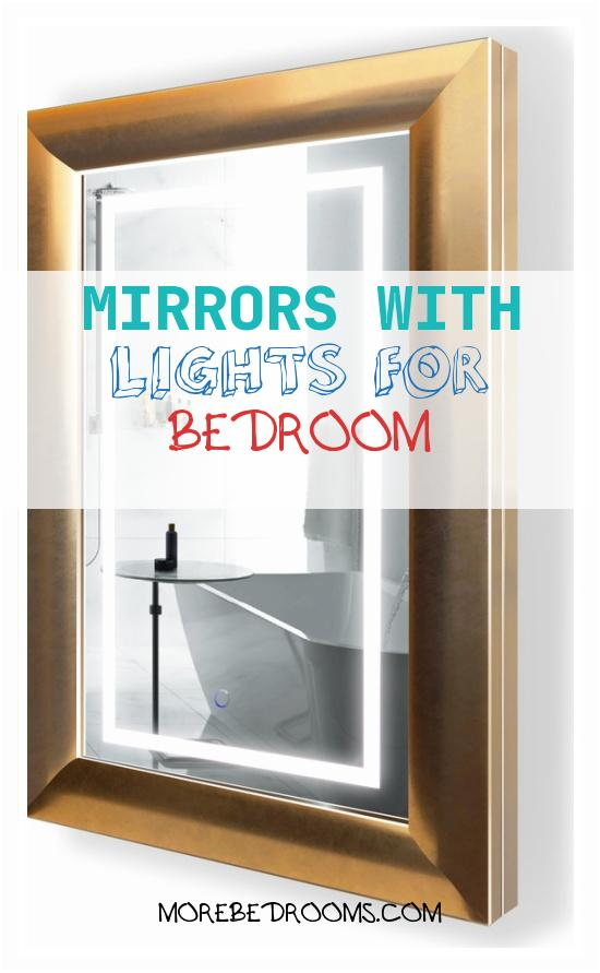 "Mirrors with Lights for Bedroom Hdowec Luxury Led Lighted Bathroom Frame Mirror with Defogger Gold 24""x36""550891cuah"