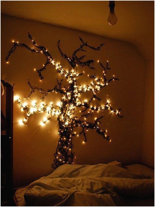 decorate the bedroom with string lights