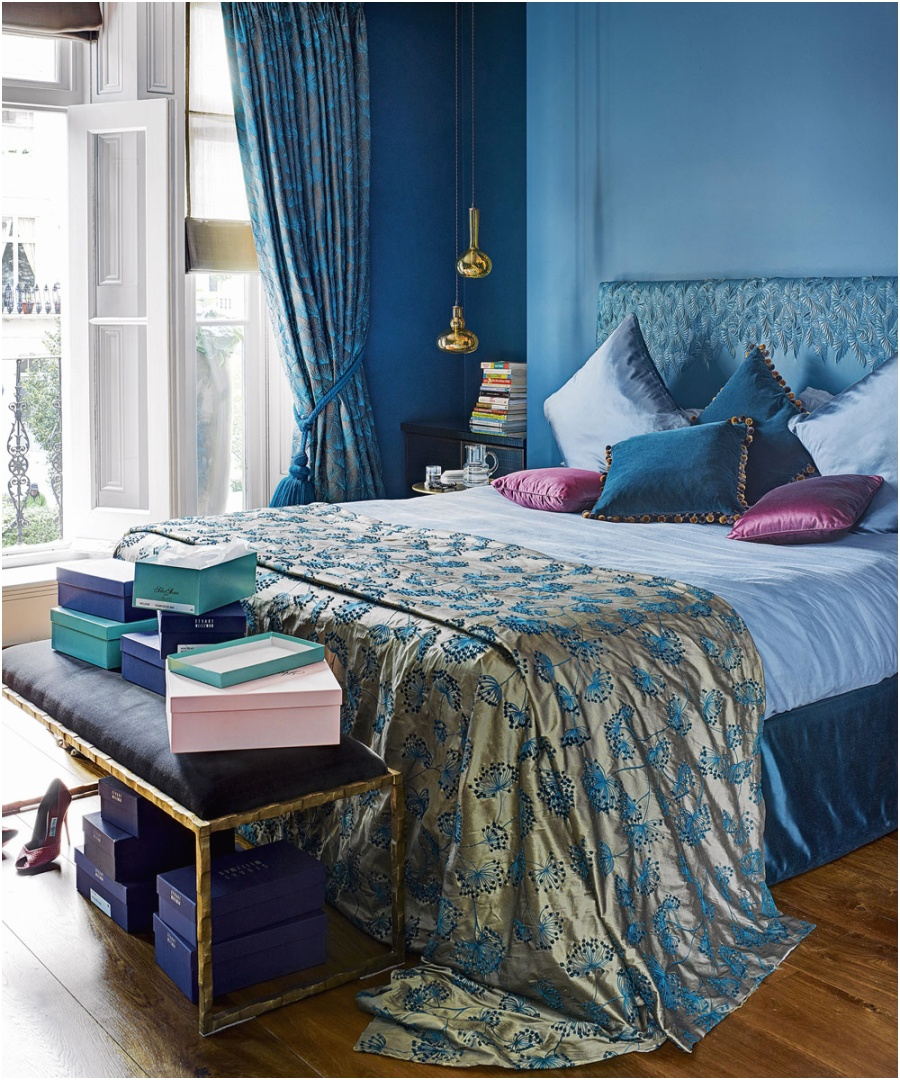 small bedroom ideas Modern blue bedroom with moroccan style bedlinen