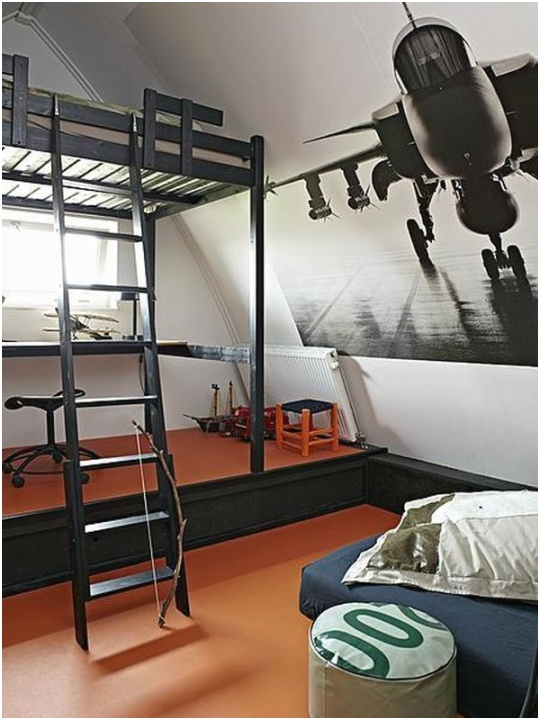 boys black metal bunk