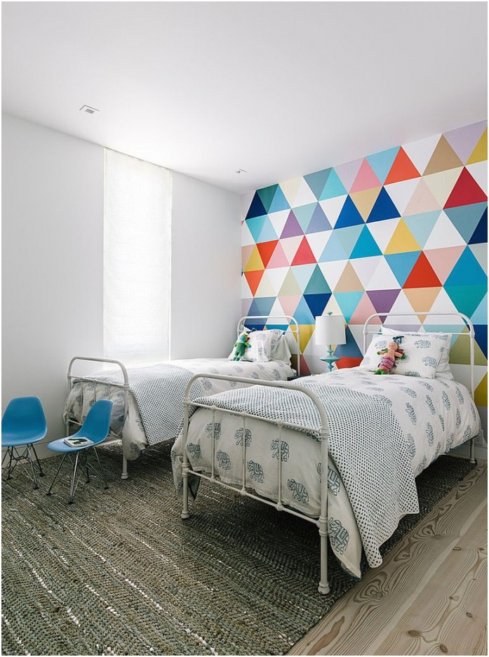 Fabulous wallpaper adds color and pattern to the cool kids bedroom