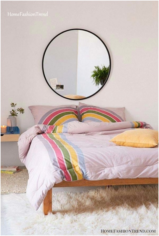Round Mirror for Bedroom Positioning above the bed occupies a useful space and helps in visualizing the entire body