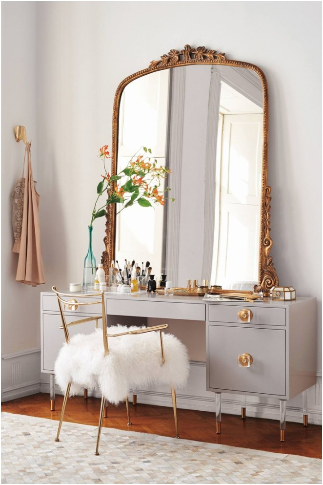 bedroom vanity with fur chair plus mirror for vanity that will make you fortable when makeup