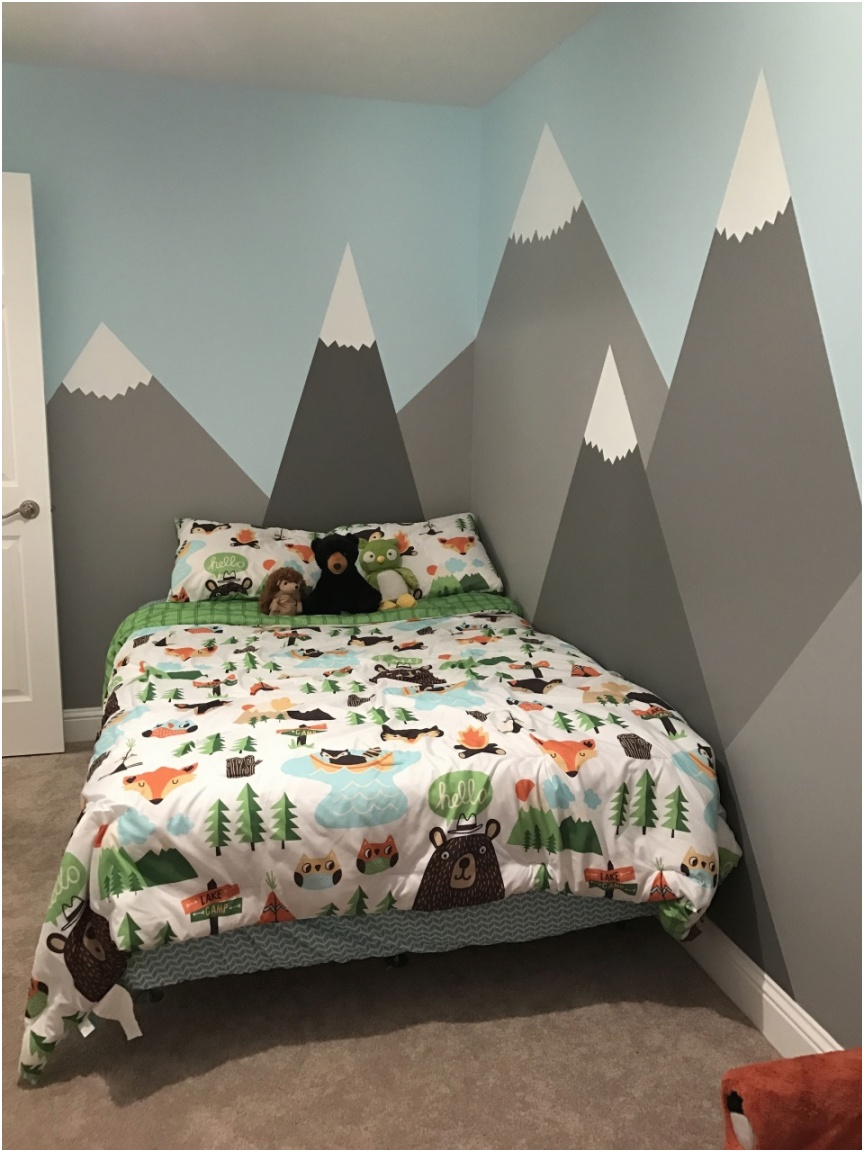 toddler boy bedroom decor my son kyler s room via ktgardner mountains painted on the from toddler boy bedroom decor