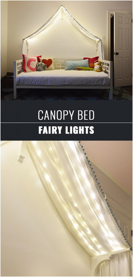 Fairy Lights to a Canopy Bed