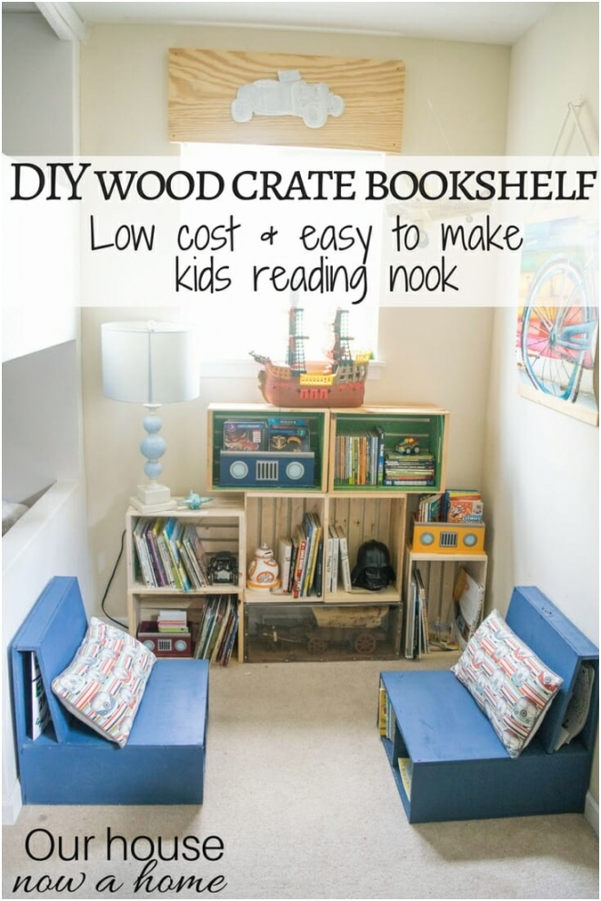 DIY wood crate bookshelf low cost and easy to make kids reading nook Playroom and boy bedroom decorating ideas