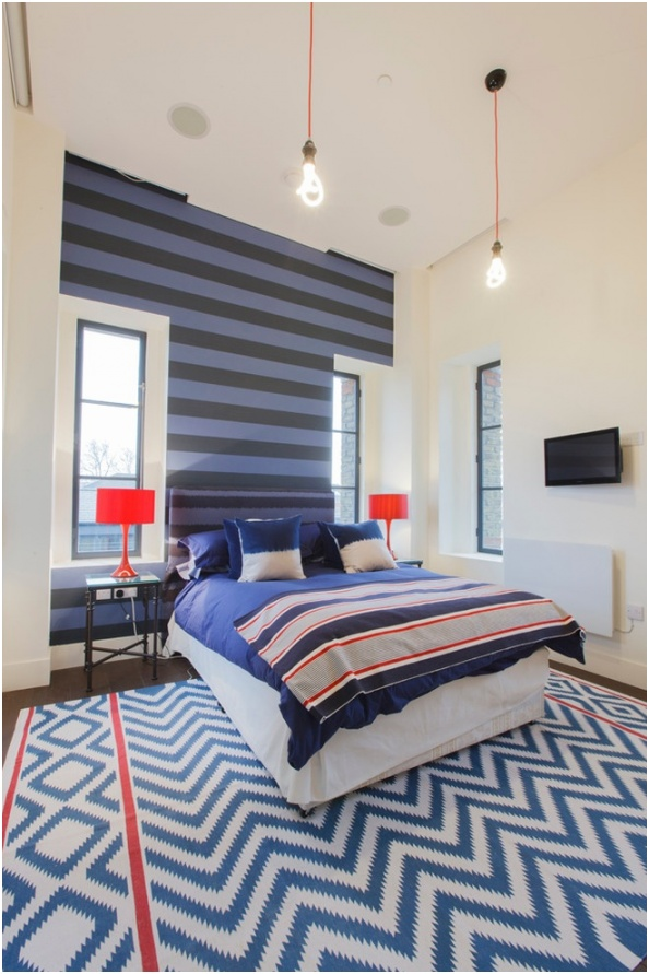 modern striped wall and chevron rug