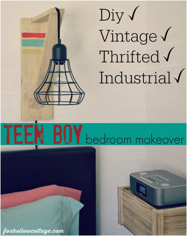 Eclectic Teen Boy Bedroom Makeover Diy Vintage Thrifted Rustic Industrial 1
