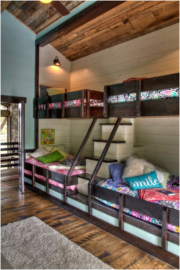 Cool rustic bedroom with bunk beds and steps
