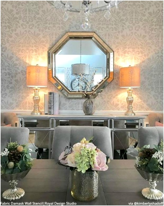 glam dining room decor silver wallpaper damask wall stencils