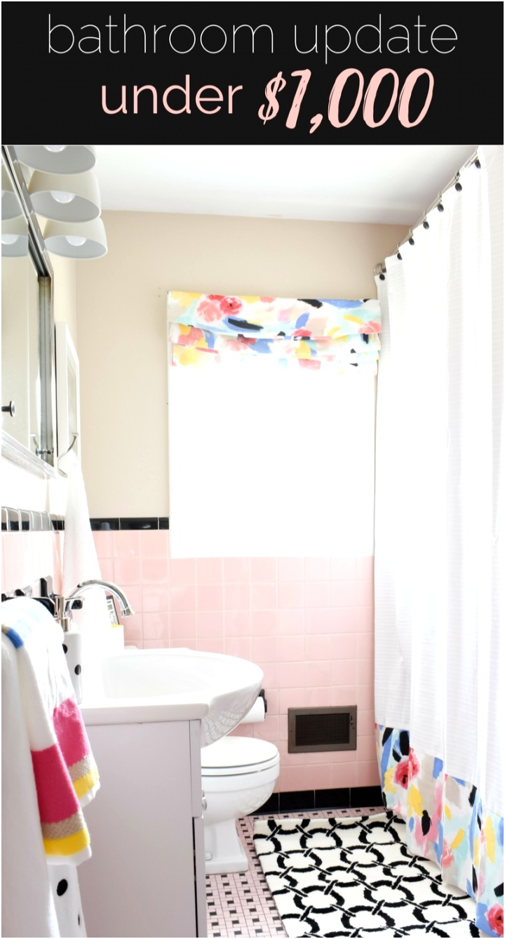 VINTAGE PINK TILE BATHROOM MAKEOVER How I made a small bathroom look and feel bigger in just one weekend and on a small bud