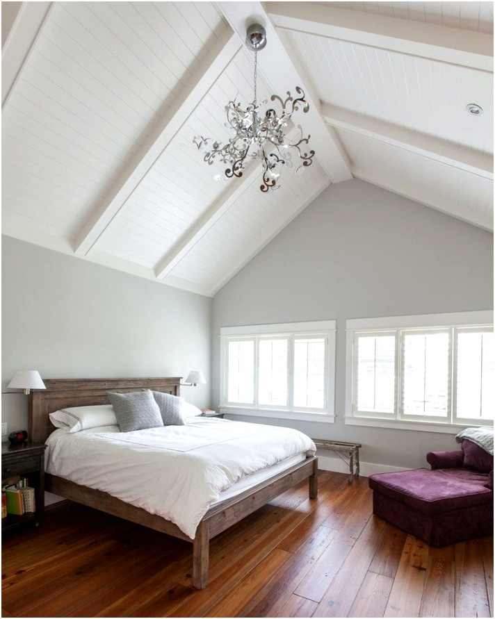 Vancouver cathedral ceiling paint ideas Bedroom Traditional with closet designers and professional organizers wooden bed