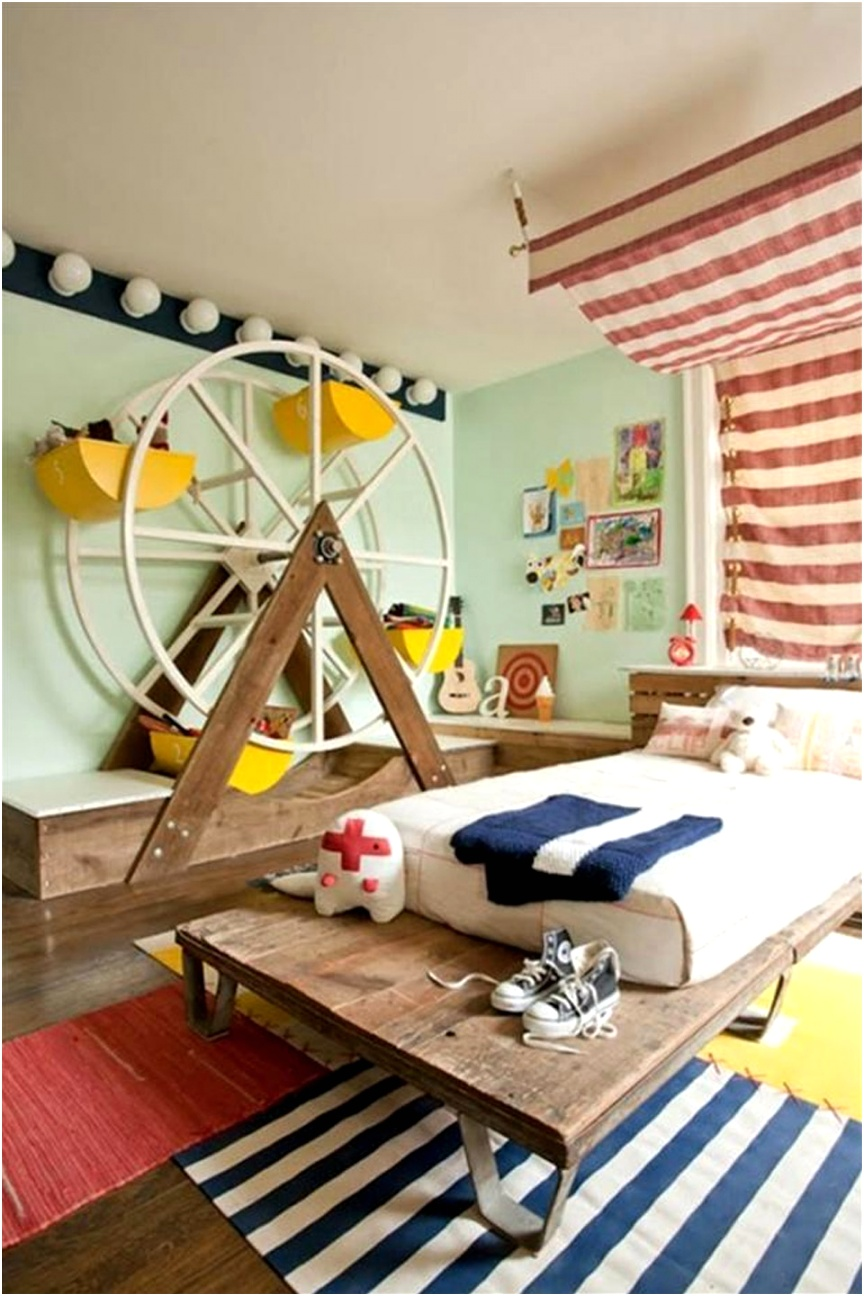 Fun Kids Bedroom Furniture For Small Spaces With Rustic Dark Brown Wooden Floor Ideas And Modern Pastel Wall Color Paint Idea Also Creative Yellow Ferris Wheel Bookshelf Design