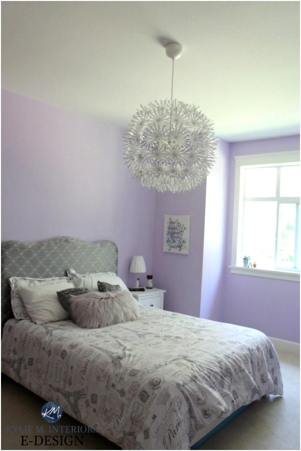 Best purple paint colour Benjamin Moore Lily Lavender in girls tween bedroom with gray and white Kylie M INteriors Edesign edecor and online paint colour blog 683x1024