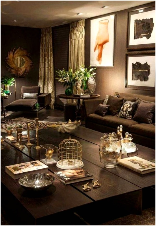brown living room trendy colors wall paint ideas