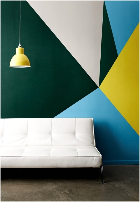 wall painting ideas geometric wall pattern contemporary home decor