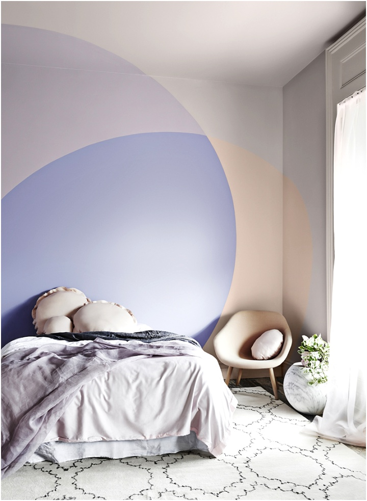 Peach and purple color blocked paint with overlapping effect