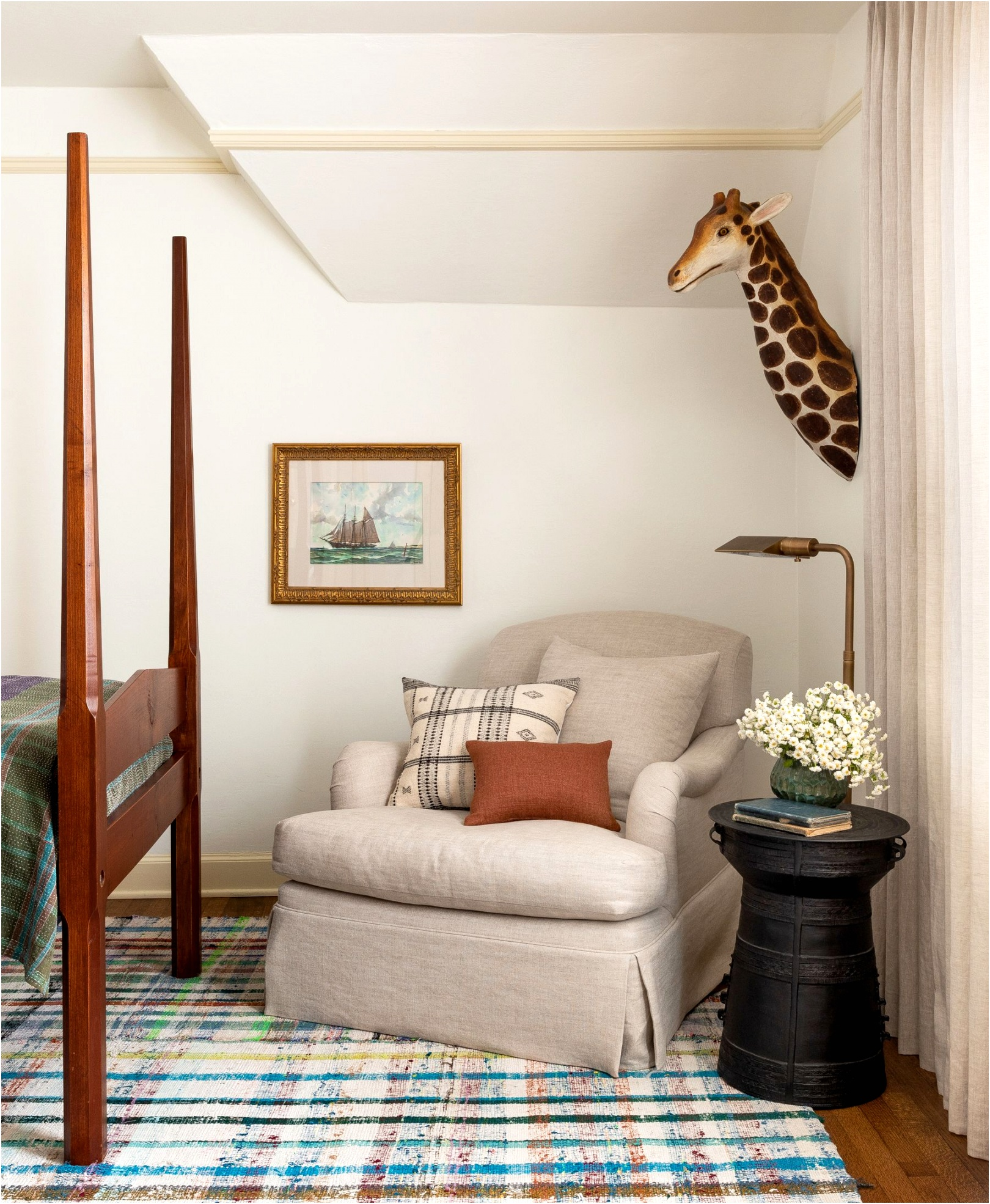 childrens room wall decor heidi caillier design seattle interior designer kids bedroom matching twin beds vintage wood beds plaid rug kantha blankets custom lampshade yellow painted trim 1