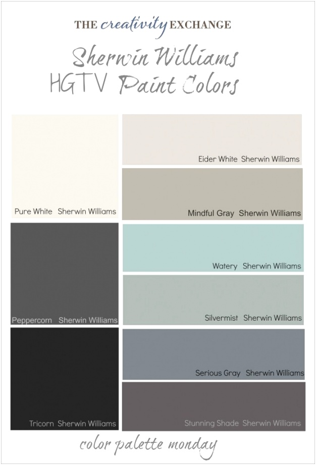 Favorite HGTV Paint Color Collections from Sherwin Williams Color Palette Monday 696x1024