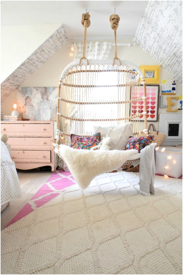 girl bedroom color ideas hanging chair