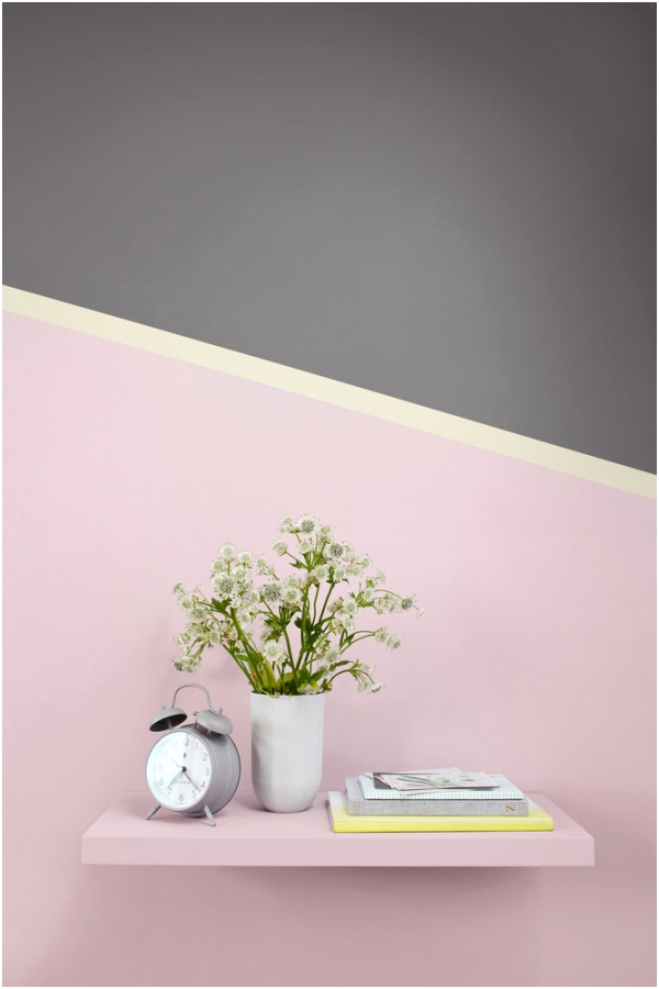 yelllow pink grey feature wall with shelf