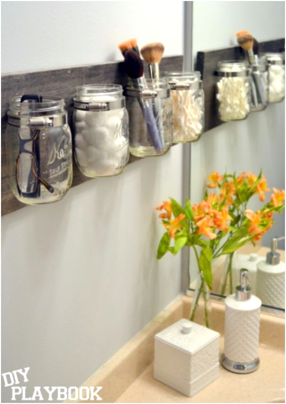 diy bedroom decor projects with mason jar organizer for makeup equipment in bedroom