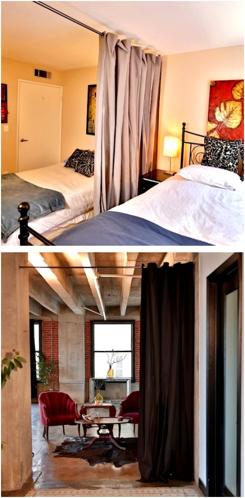 21 Curtain room dividers 29 Sneaky Tips For Small Space Living