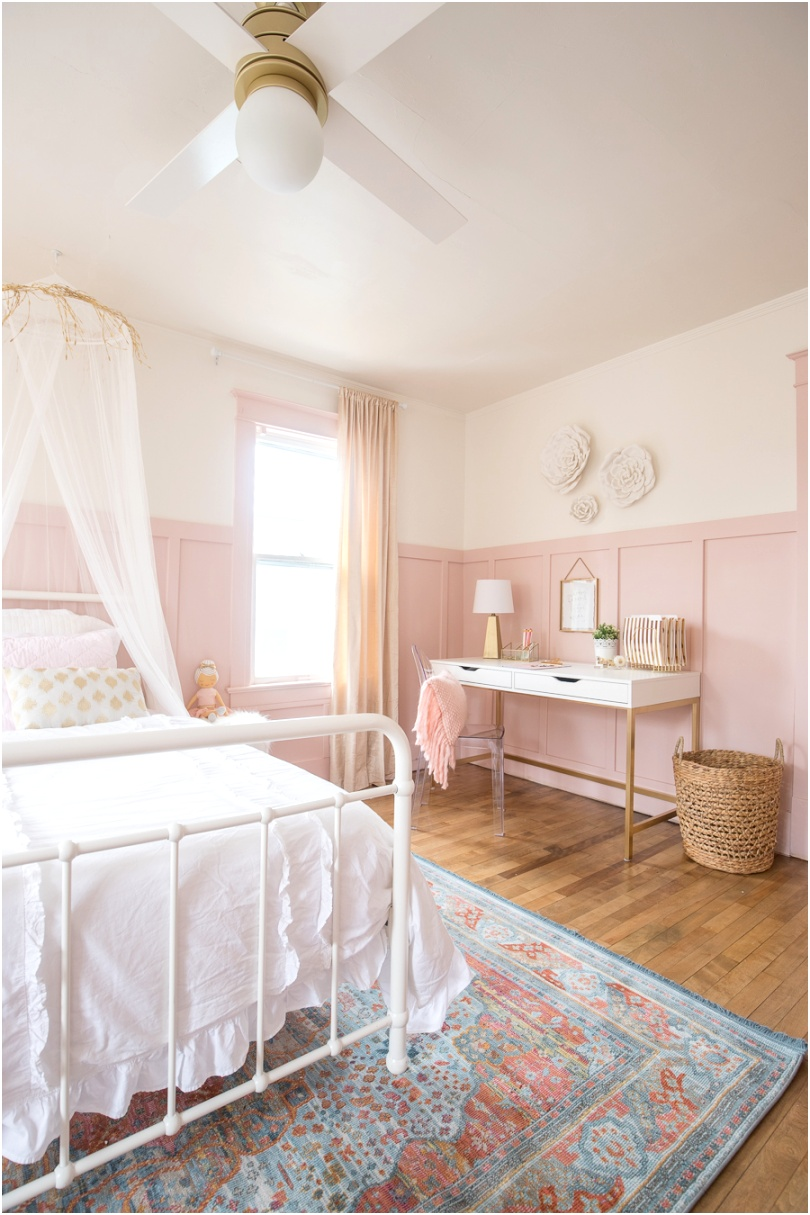 Pink and Gold Girls Bedroom 13