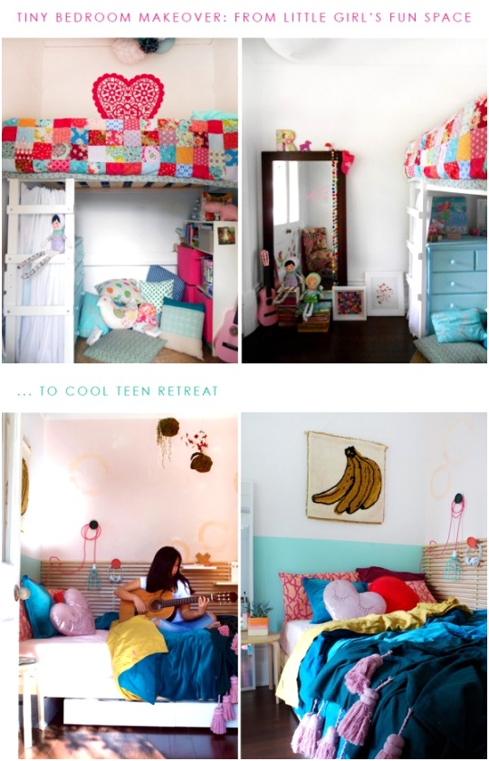 BEFORE AND AFTER tiny bedroom makeover for a teen girl 600x934