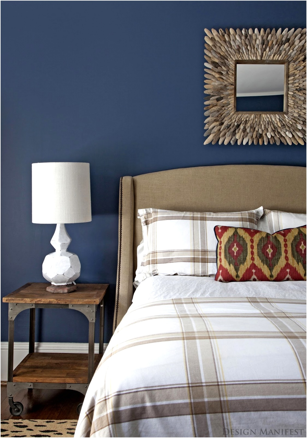 modern dark blue boys bedroom with mirror in wall using wood frame