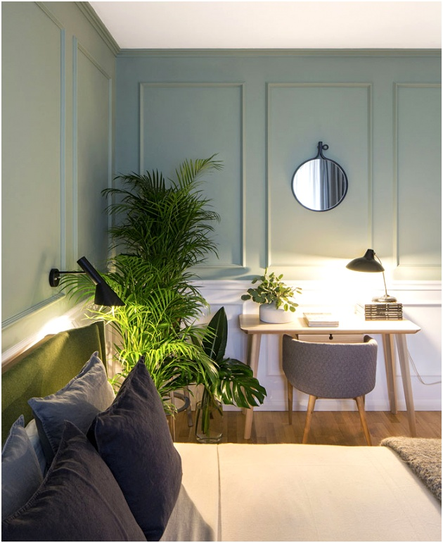 bachelor apartment green wall