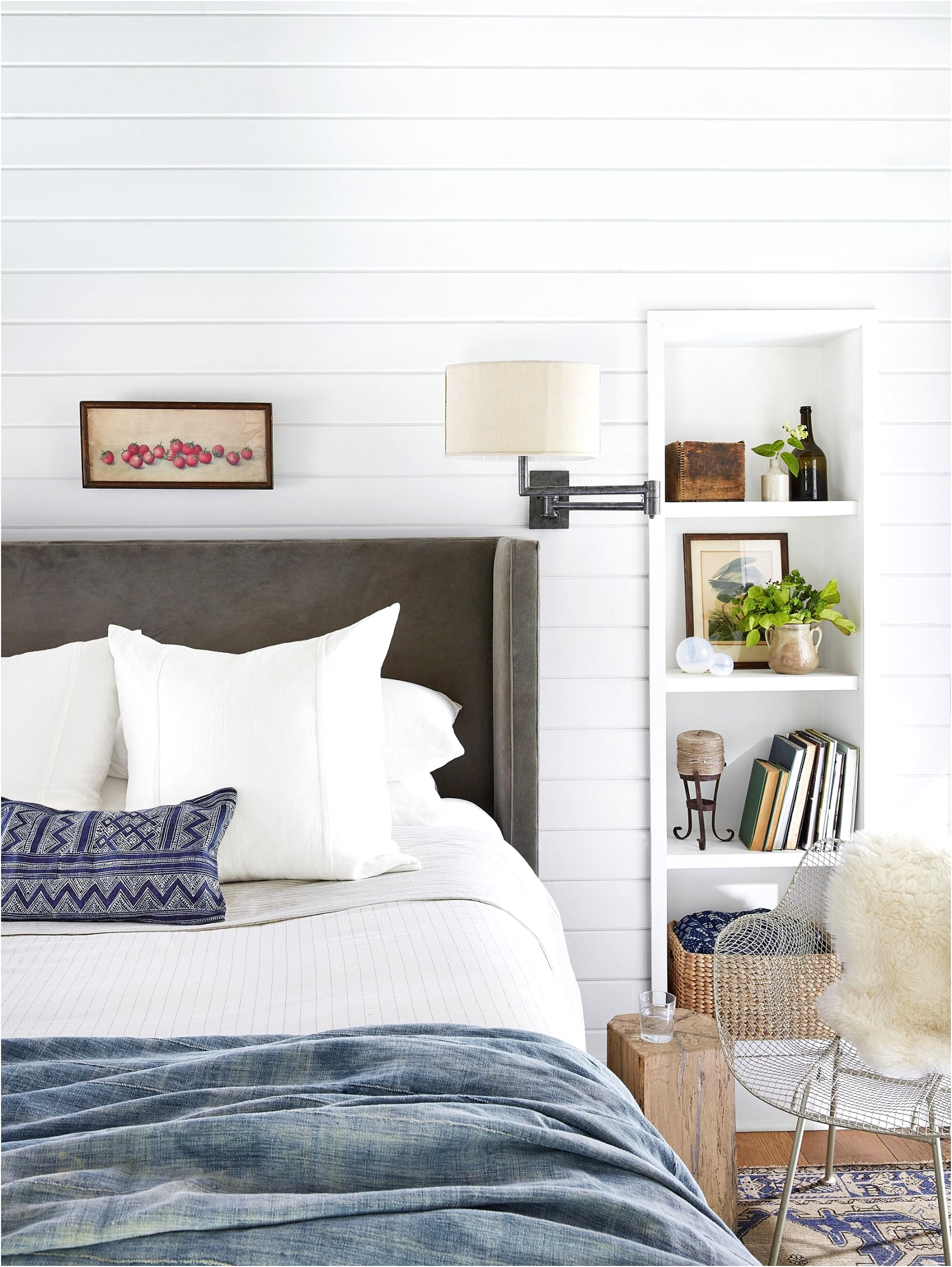 white bedroom upholstered headboard