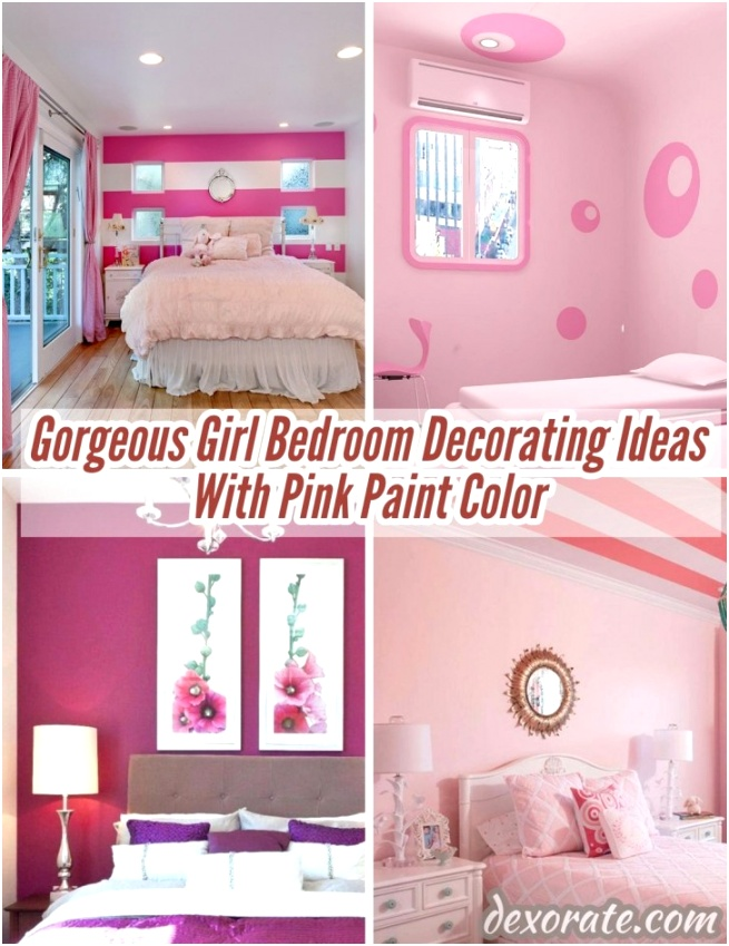 Gorgeous Girl Bedroom Decorating Ideas With Pink Paint Color