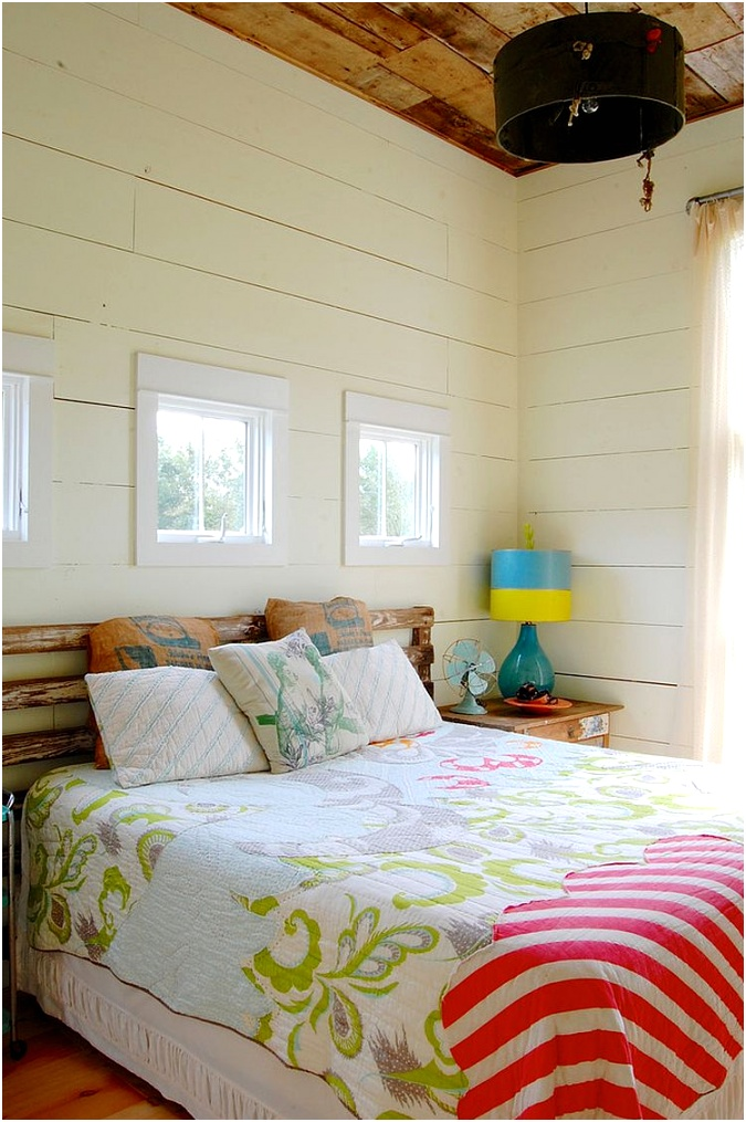 Chic modern farmhouse bedroom with colorful vintage finds