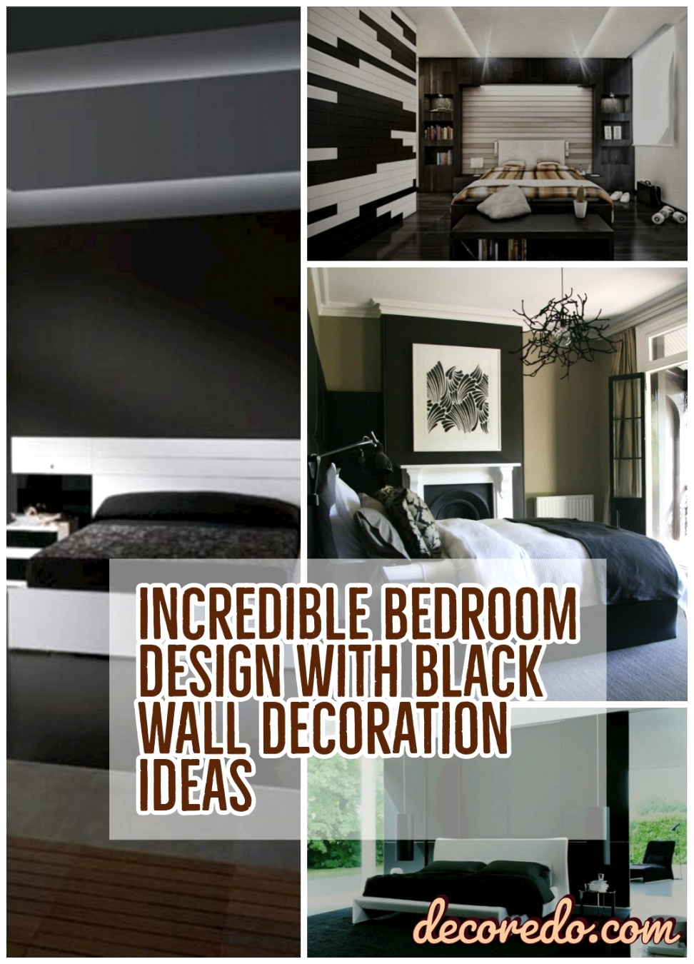 Incredible Bedroom Design With Black Wall Decoration Ideas