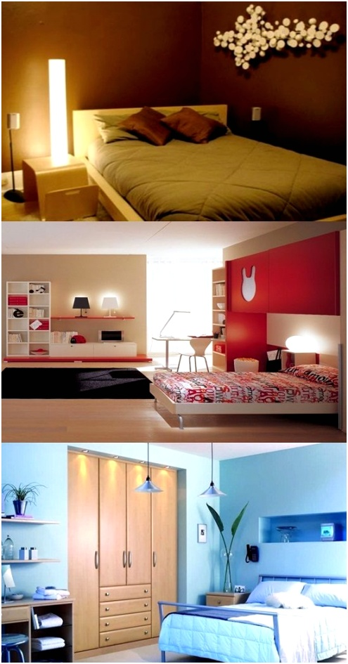 Small Bedroom Color Lighting and Mirror Ideas 550x1050