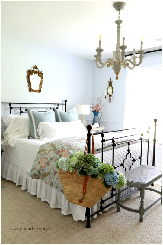 blue bedroom makeover with metal bed french country style 1