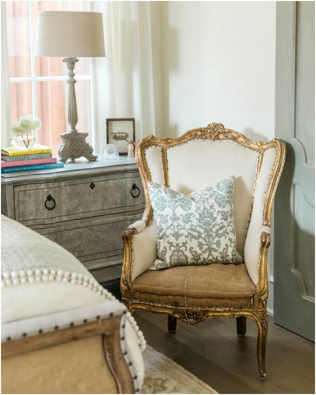 Rustic French farmhouse bedroom nightstand wing chair