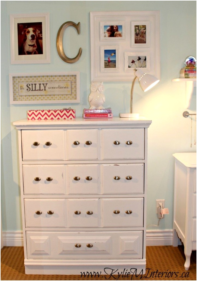 girls bedroom decorating ideas with a white dresser and small photo gallery on benjamin moore icy moon drops a light blue paint colour