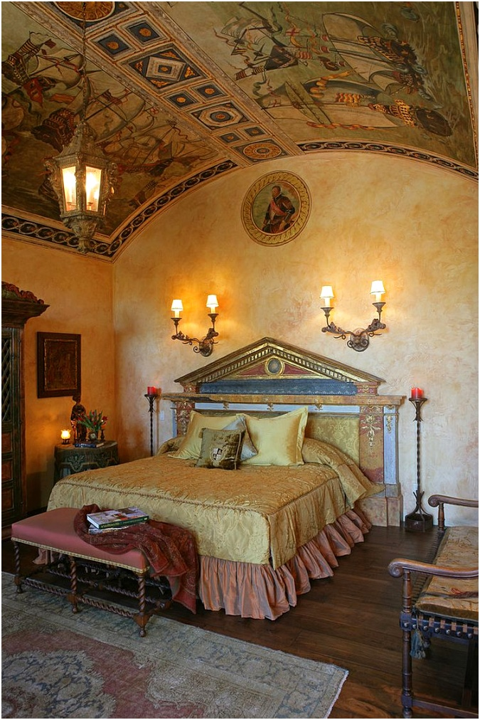 Ornate ceiling for the awesome Mediterranean bedroom