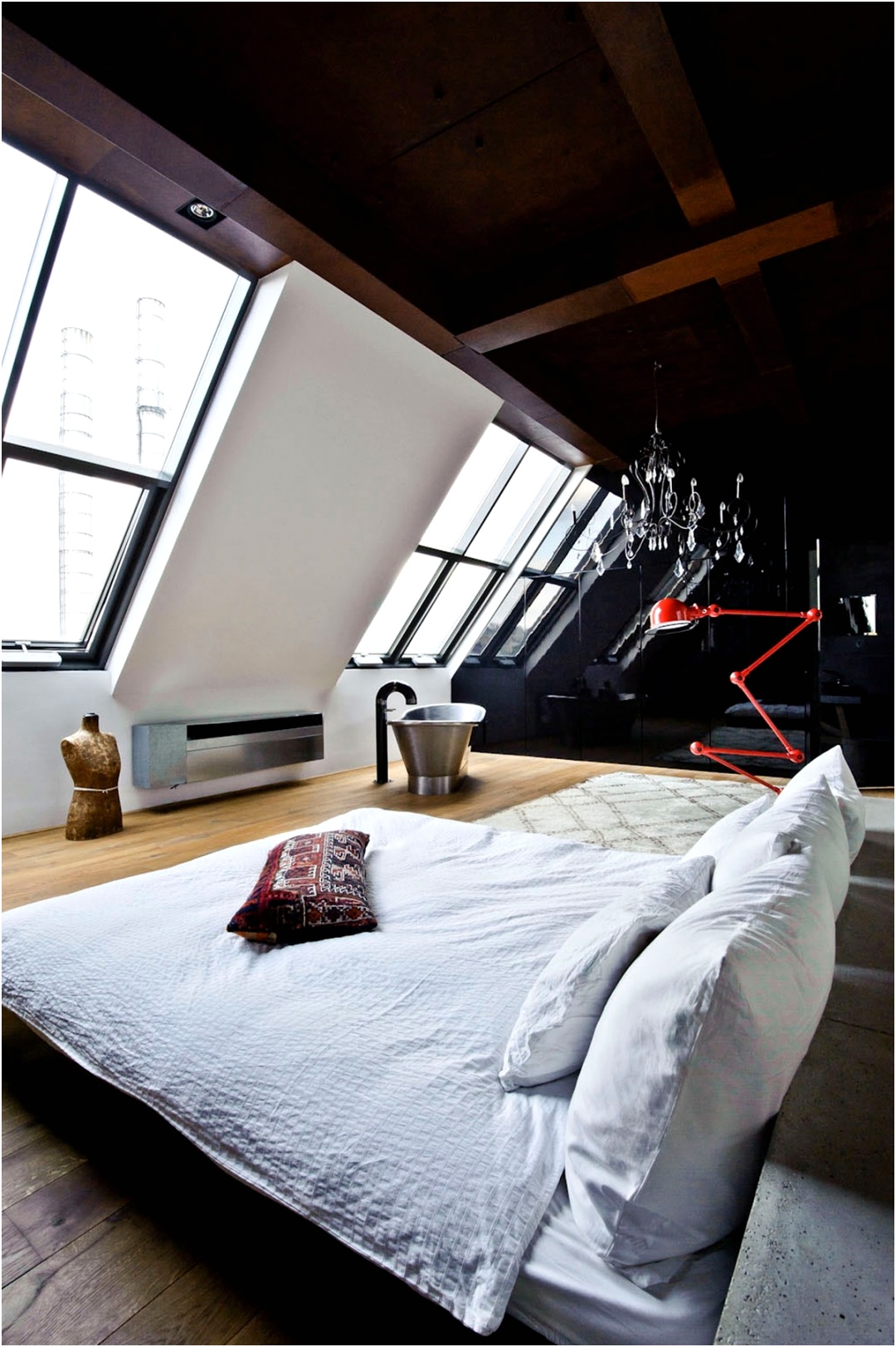 stainless steel tub white bed attic space